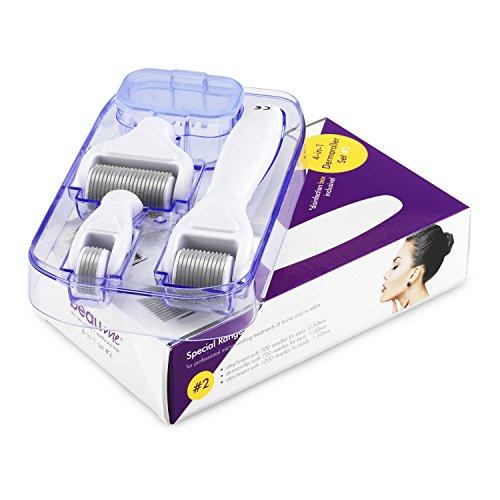 BEAUME® Special Edition 4-in-1 Dermaroller-Set - 1x Dermaroller mit 720 Nadeln + 1x Aufsatz mit 1200 Nadeln + 1x Aufsatz mit 300 Nadeln + 1x Behälter mit Desinfektionsbox, das Original, Größe:#2