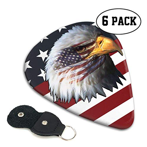 American-Flag-Eagle-Head Celluloid Guitar Picks Premium Picks 6 Pack for Guitar,Mandolin,and Bass 0.46mm, 0.71mm, 0.96mm Optional with PU Leather Pick Holder(0.96mm)