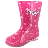 New Girls/Childrens Pink Pineapple Star Print Wellies - Pink - UK SIZES 6-12
