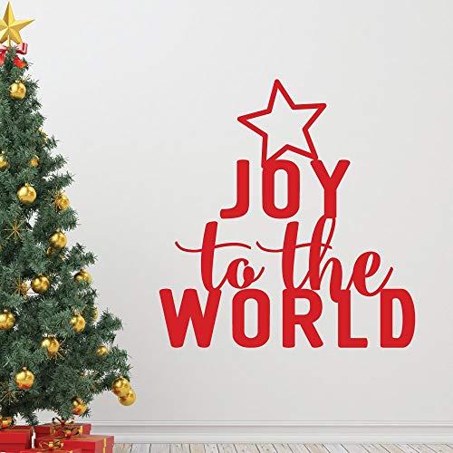 Frohe Weihnachten Baum Freude an der Welt Zitate Wandaufkleber Kunst Wohnkultur Vinyl Urlaub Aufkleber DIY Removable Zimmer Wandbild 57x60 cm (Farbkarte Der Welt)