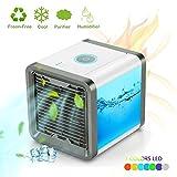 Mini Luftkühler Mobile Klimageräte LoiStu Arctic Air mit Wasserkühlung Zimmer Raumentfeuchter Mini Klimaanlage ohne Abluftschlauch für Büro, Hotel, Garage, 3 Kühlstufen - 7 Stimmungslichter (Gelb)