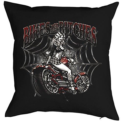 Polster für Biker Motiv aus USA Kissen mit Füllung Bikes and Bitches Wild Biker Polster Geschenk Biker Bike Biken Motorrad - Bitch Biker-shirt