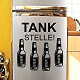"""Wandtattoo Loft 'Kühlschrankaufkleber Schriftzug """"Tankstelle' mit Bierflaschen / Bier / Lustiger Spruch / Lustig / Männer / Kühlschrank Sticker / 54 Farben / 2 Größen / königsblau / 26 cm hoch x 25 cm breit"""