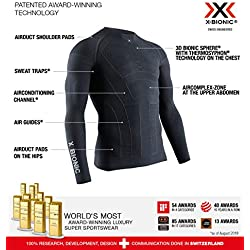 X-Bionic Moto Energizer 4.0 Light Long Sleeve Shirt, Hombre, Charcoal/Pearl Grey, XL