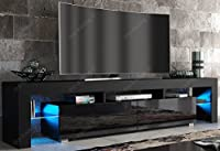 Modern TV Unit 200cm Cabinet Black Matt and Black High Gloss FREE LED RGB Lights