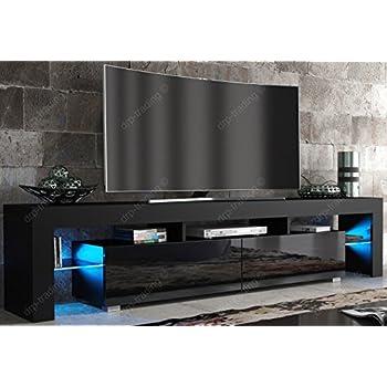 Captivating Modern TV Unit 200cm Cabinet Black Matt And Black High Gloss FREE LED RGB  Lights