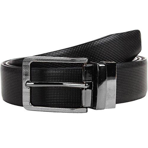 POLLSTAR Formal Feather Edge Reversible Black &Brown Italian Leather Men's Belt