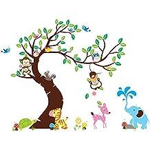 Bonigar 189 x 143cm Grande Pegatinas Adhesivos vinilos decorativos pared animales de zoo árbol Removible para sala de estar dormitorio infantil