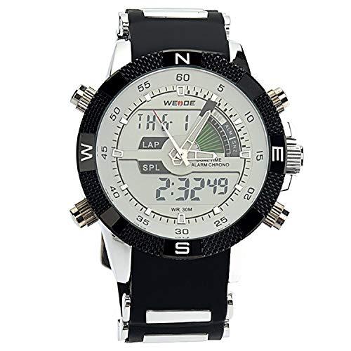 Articoli Fashion Orologio da polso al quarzo digitale da uomo a LED con doppio orologio sportivo impermeabile con data/cronometro/sveglia/cinturino in gomma (bianco) Indossando Polso
