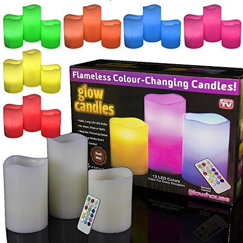 Set de 3 velas LED prémium que cambian de color, de cera real, con mando a distancia y temporizador