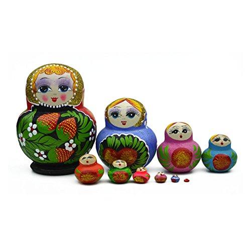 Soulitem Muñeca de Madera para niños de 10 Capas, Juguete Colorido Hecho a Mano, Bonito Juguete para Nido Pintado a Mano, muñeca de Matryoshka para niños