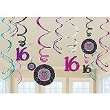 Amscan 16. Geburtstag - 12er Set Swirl Wirbel Hänger