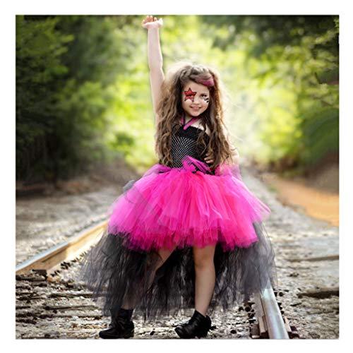 DONGBALA Kinder Zauberer Kostüm, Halloweenkostüm Netzkleid Für Kinder Kinderfest Tanzkleid Für Kleinkind Mädchen Urlaub Starred Kleidung Schule Spielen Karneval Cosplay Rose Rot,6~7Y (Einfach Kleinkind Kostüm)