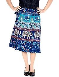 3138d88c3d Sttoffa Women's Cotton Ethnic Wrap Around Block Print Knee Length Skirt  (NTBW24-0062,