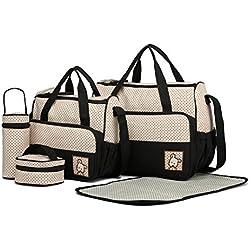 Miss Lulu 5 pcs Bébé Ensemble de sacs à langer de multifonction Diaper Messenger hôpital Maternité Ensemble de sac en polyester avec motif imprimé pois (Noir)