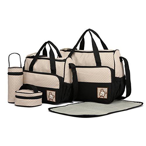 Miss Lulu 5er-Set Babytasche Wickeltasche Mutter Windeltasche Handtasche Schultertasche Flaschenhalter mit wickelunterlage (Schwarz)