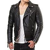 Prestige Homme MR18–4Hombre Chaqueta De Piel sintética Biker chaqueta acolchada Negro Rojo S–XXL)
