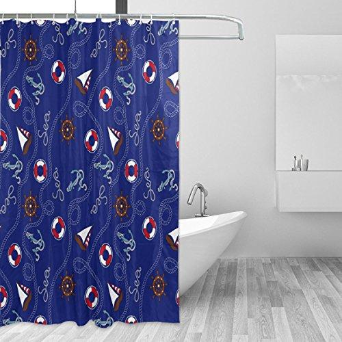 Marina Duschvorhang (coosun blau marine Anker Nautisches Muster Duschvorhang Polyester-Set-wasserabweisend Badezimmer Showe Vorhang Set Home Dekoration mit Haken, 66x 72L Zoll)