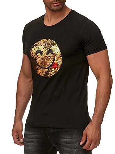 Red Bridge Herren Wende-Pailletten T-Shirt Emoji changierend glänzend manuell veränderbar Schwarz M