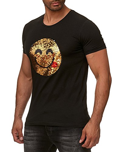 emoji tshirt Red Bridge Herren Wende-Pailletten T-Shirt Emoji changierend glänzend manuell veränderbar Schwarz S