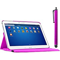ebestStar - para Samsung Galaxy Tab 4 10.1 SM-T530, T531 T535 [Dimensiones PRECISAS de su aparato : 243.4 x 176.4 x 8 mm, pantalla 10.1''] - Estuche Carcasa Funda PU cuero 360° rotativa + Estilete táctil, Color Pink