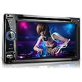 """XOMAX XM-2DTSB6219BT Radio de coche / Bluetooth manos libres y reproducción de música / 16 cm / 6,2"""" de alta definición HD de pantalla táctil / DVD / CD / conexión 2x USB (hasta 128 GB) y ranura para tarjetas Micro SD (hasta 128 GB) / Audio & Video: MP3 incluyendo ID3 TAG, WMA, MPEG4, AVI, DIVX, etc / Conexión Subwoofer, para cámara trasera, remota / Norma DIN doble (2DIN) + con mando a distancia y marco de montaje"""