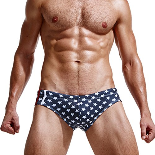 Hippolo Sterne Design Mann Swimming Trunks Badeanzug Bademode Badehose Boardshorts (XL, Blau) -
