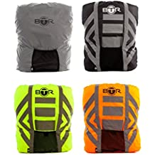 BTR regenschutz rucksack. Reflektierender, 100% WASSERFESTER Rucksack-Überzug, Rucksack-Schutz für schlechtes Licht / Dunkelheit. Der einzige 100% wasserfeste regenschutz rucksack. Bleiben Sie SICHTBAR & TROCKEN