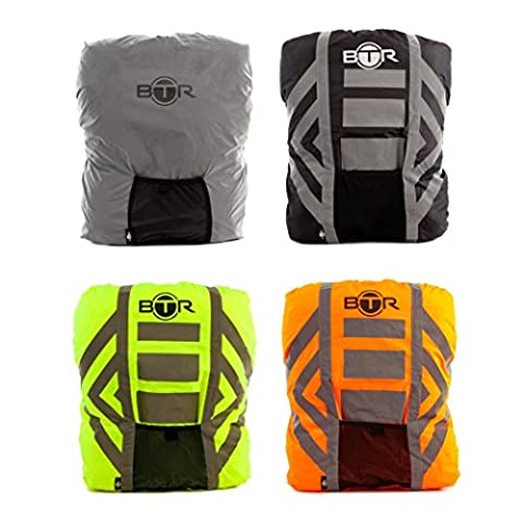 BTR Waterproof High Visibility Backpack Cover, Rucksack Cover, 300D Oxford Fabric, 3M Tape Reflective Stripes, Yellow -