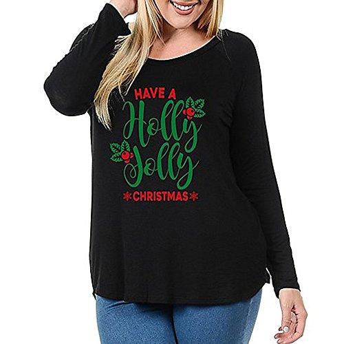 (Christmas Damen Tshirt UFODB Frauen Sweatshirt Ugly Sweater Coole Xmas Weihnachtspullover Weihnachten Pullover Rundhals T-Shirt Druck Top Langarmshirt)