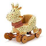 OUBO® Schaukeltier Hannah die Giraffe Plüsch Schaukel Plüschtier Schaukelpferd mit Rädern, Multi-Funktionen auch als Rutschfahrzeug, für Kinder ab 6 Monate bis 60kg