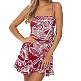 UFACE Promotionen Frau Leaf Print Sling Kleid Drucken von Schulter äRmelloses Minikleid Prinzessin Dress (S, Rot)