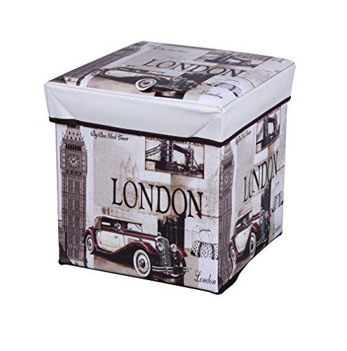 Amazinggirl Sitzhocker mit Stauraum 30x30x30 cm Faltbarer und Moderne London Motiv Falthocker als...