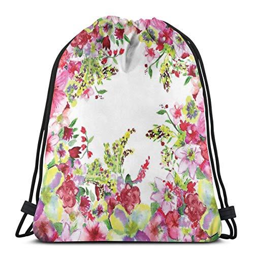 Nisdsgd Drawstring Shoulder Backpack Travel Daypack Gym Bag Sport Yoga, Fresh Curly Willow and Dahlia Floral Summer Buds Pollen Hand Drawn Print,5 Liter Capacity,Adjustable. -