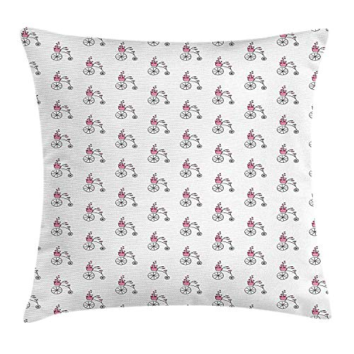Bicycle Throw Pillow Cushion Cover, Penny-Farthing Bicycle Sketch and Basket Filled with Vivid Pink Hearts, Decorative Square Accent Pillow Case, 18 X 18 inches, Fuchsia White Black