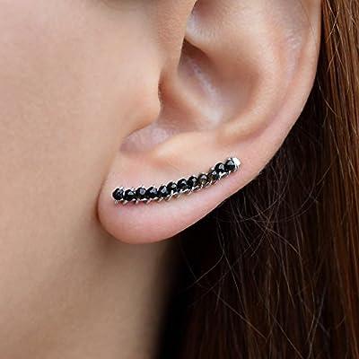 Boucles d'oreilles manchette en argent sterling 925, faites à la main par Emmanuela, boucles d'oreilles grimpeur mignon, hypoallergéniques uniques et inhabituels de bijoux noirs