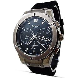 New Classic Dress Style Omax Mens Wrist Watch Black Leather Strap Day Hour & Date Analog Quartz