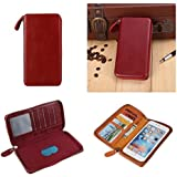 DFV mobile - Executive Wallet Case with Magnetic Fixation and Zipper Closure for => BLUBOO X9 > Red