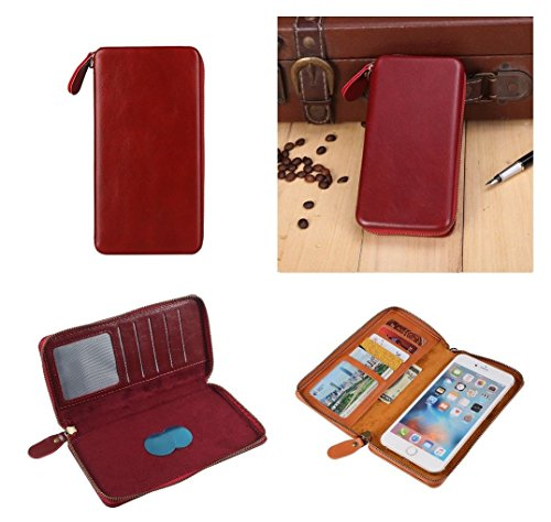 DFV mobile - Executive Wallet Case with Magnetic Fixation and Zipper Closure for => LG D415 OPTIMUS L90 (LG W7) (2014) > Red (Lg D415 Wallet Case)