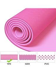 Colchoneta de Yoga, TOODA Esterilla para Pilates TPE 183x66x0.6cm Antiresbalante, la Mejor Esterilla Yoga para el Ejercicio y el Deporte Caseros, Certificado por SGS, Garantía del Reembolso del 100%