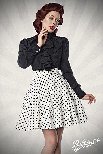 Belsira Eleganter Damen Tellerrock im 50er Jahre Stil Weiß-Schwarz