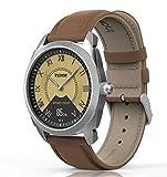 Hybrid Smart Watch - InClock Edelstahl mit Lederband, (OLED Autokalibrierung, Herzfrequenz, Schrittzähler, Schlaf und Blutdruckmessgerät, Fitness Tracker) Bluetooth Smartwatch