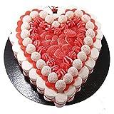Torta composta da 850 g di caramelle a forma di cuore. Peso netto: 850 g Contiene 109 pz. Dolci. Misure: diametro 27 cm. Presentazione con una scatola elegante e retrattile