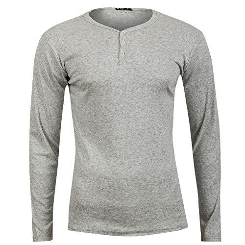 Jules Henley Y-Neck Longsleeve T-Shirt Langarmshirt Herren tolle Passform Herrenshirt mit Knöpfen Grau