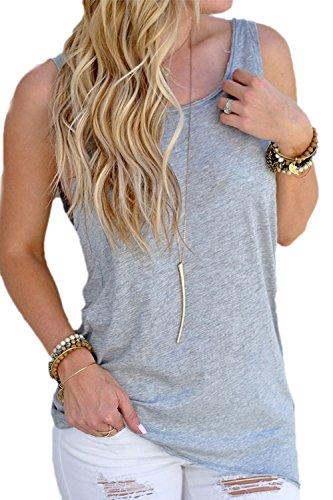 Mujeres Backless Sleeveless Tank Top con Espalda Abierta Nudo Casual Shirt Tee Grey S