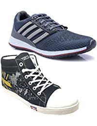 Ind Crown Men's Boy's Grey Black Casual Canvas Sports Sneakers Long Shoes