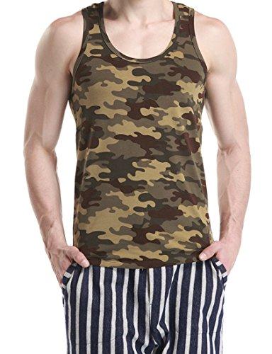 Honeystore 3er Pack Herren Mann Vest Tops Tank Trainingsweste Camouflage Military Sport Outdoor Grün und Braun XL (Rib 3-pack Jungen)