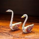 ExclusiveLane Meenakari White Swan Set Handenamelled In Metal - Swan Showpiece, Statue, Figurine, Sculpture Home Interior Décor Gift Item Home Decor Showpiece Showcase Items For Home Gift Items