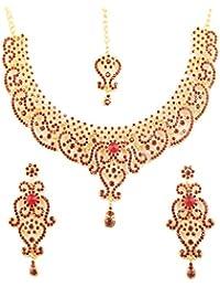 9ccc6d017293 Piedra de Toque de la India Bollywood Fine Filigrana Rojo sintética Ruby  Grand Novia joyería Collar Conjunto En..