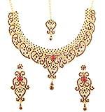Piedra de Toque de la India Bollywood Fine Filigrana Rojo sintética Ruby Grand Novia joyería Collar Conjunto En Tono De Oro Antiguo para Las Mujeres.